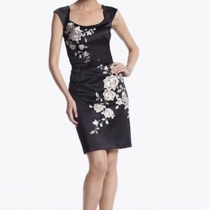 Black Satin Sheath w/ Cream Floral Embroidery